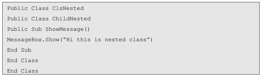 Dot net nested classed